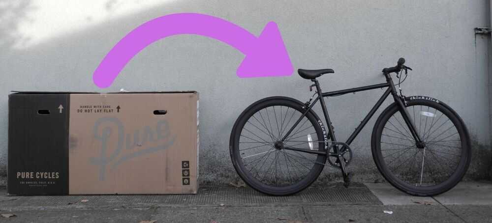 Photo of a bike shipping box, and an arrow pointing to a fully assembled single-speed bicycle.